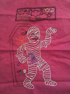 Vintage Halloween Hand Embroidered Mummy Treat Or Treat Felt Crafting