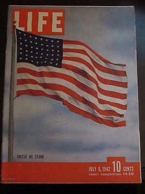 Life Magazine United We Stand Us Flag July 1942