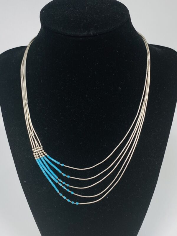 Vintage Navajo 5 Strand Turquoise & Liquid Sterling Silver Heishi Necklace