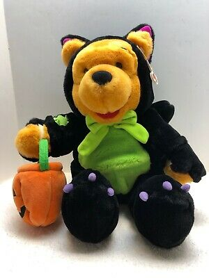 Disney Winnie the Pooh Halloween Black Scaredy Cat Plush Toy 15