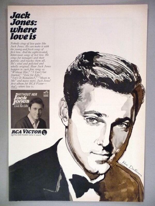 "Jack Jones ""Without Her"" Record Album PRINT AD - 1967 ~~ Ken Dallison art"