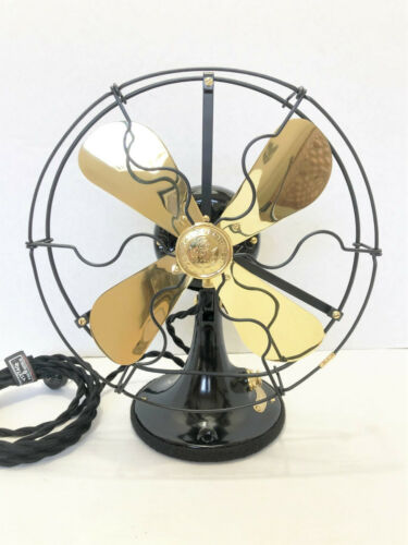 """vintage antique1920s 9""""GE Whiz Fan Brass Blades Sationary Variable Speed Switch"""