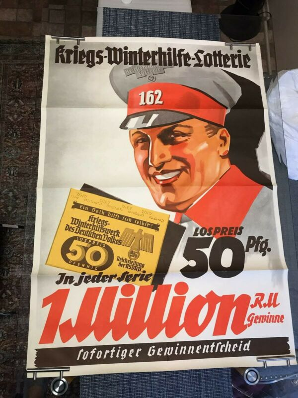 Germany WW-2 Poster, Lottery to help German Army in winter time, RRR !!