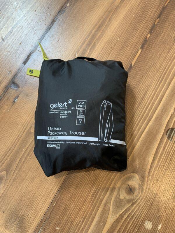 Gelert Unisex Black Pack Away Waterproof Trousers Age 7-8 Yrs (Worn Once)