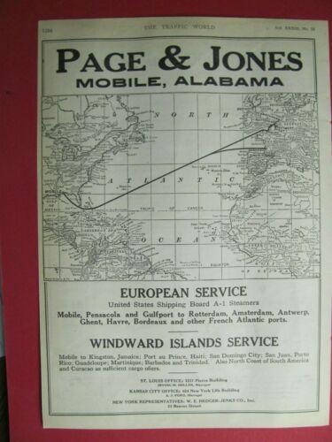 1924 PAGE & JONES SHIPPING ADVERTISEMENT MOBILE ALABAMA WINDWARD ISLANDS EUROPE