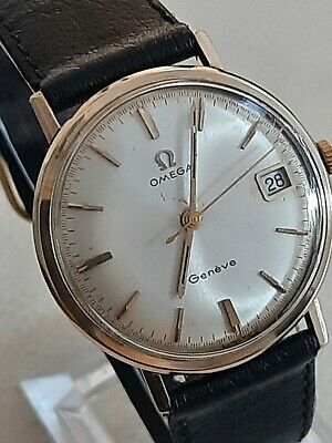 9ct gold Omega Geneve mens watch in good vintage condition and original box