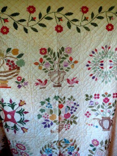 "Vintage Quilt Handmade Hand Stitched Cross Stitch 80"" x 88"" Farmhouse Folk Art"