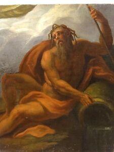 Fine 18th Century French Master Poseidon Roman Greek God Antique Oil Painting