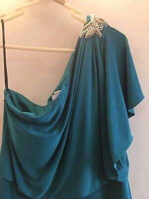 Jenny Yoo Bridesmaid Prom Evening Maxi Dress Ocean Green Blue Teal Size 8