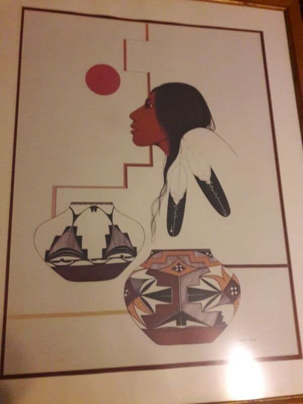 Burgess Roye Native American Art Signed Large Framed Print 135/300