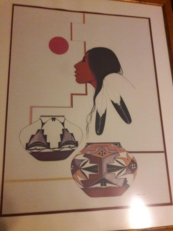 Burgess Roye Native American Art Signed Large Framed Print 135/300