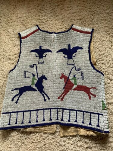 Antique old Sioux Fully Beaded Sioux Pictographic Vest. C. 1890's