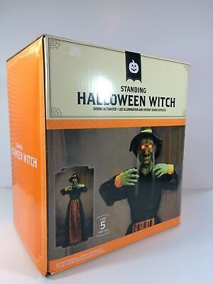 Standing Witch Halloween Prop Over 5 Feet Tall Sound Activated LED eyes Sounds