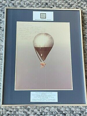 1981 Signed Photograph Fabric Double Eagle II 1st Transatlantic Hot Air Balloon segunda mano  Embacar hacia Argentina