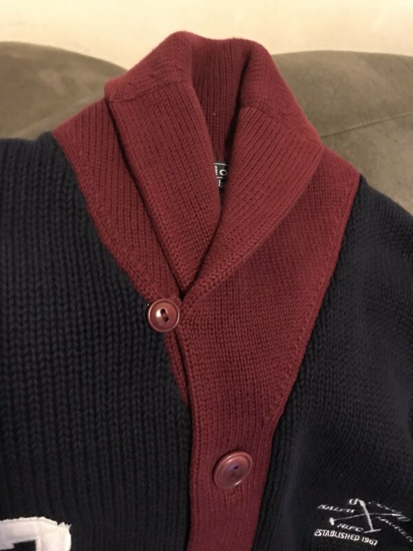 Polo Ralph Lauren Polo Club Sweater RLPC Size XL 100% Cotton Burgundy And Blue
