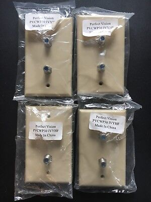 Lot of 4 Dual coaxial cable wall-plate Ivory color 3GHz F connector twin TV jack Dual Tv Wall Plate
