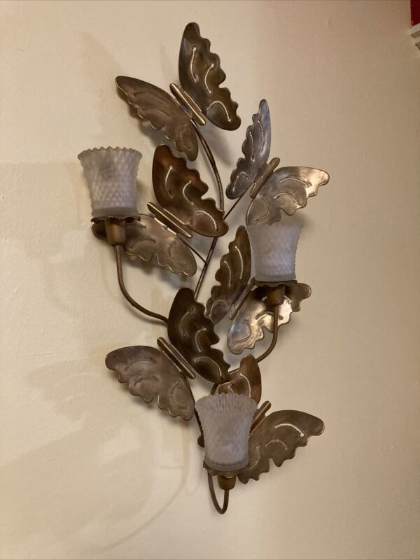 Home Interiors Butterfly Brass Wall with 3 Sconces