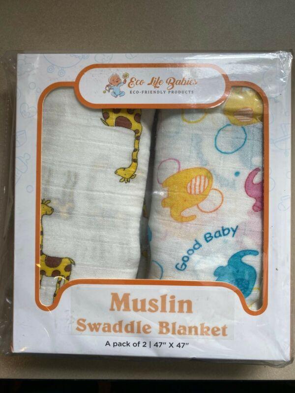 Eco Life Babies Muslin Swaddle Blanket 2-Pack, Giraffe & Elephant Design