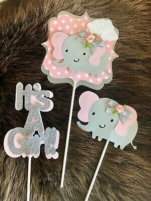 Elephant centerpieces/ Pink and Gray centerpieces/ Elephant theme/ It's a - Pink And Grey Baby Shower Decorations