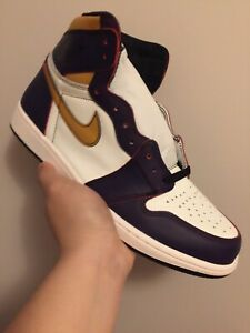 "low cost 7998e 92807 AIR JORDAN 1s ""LA TO CHICAGO"" QS - LAKERS - SIZE 11.5"