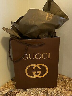 NEW GUCCI Brown Shopping Bag/Gift Bag and 1 GUCCI Brown/Gold Logo Tissue Paper
