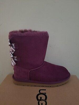 Ugg Australia Kids Mini Bailey Bow II Embroidered  boots  Size 4 NIB