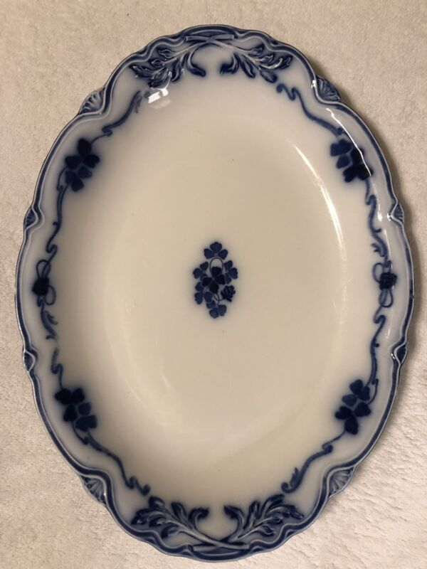 """Antique Clover Flow Blue Oval Platter W.H. Grindley & Co. """"The Imperial"""" 14 1/4"""""""