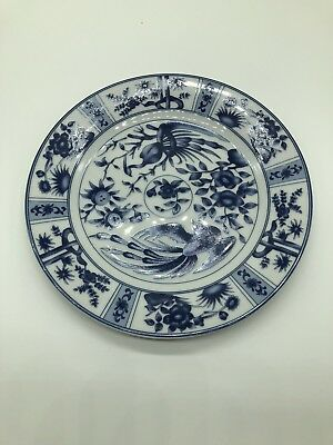 Blue Heron by China BREAD PLATE Blue & White, Herons (birds) & Flowers Blue Flowers Bread Plate