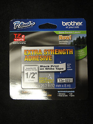 Brother P-touch Tze-s231 Label Tape Extra Strength Adhesive Tzes231 Tz-231 Oem