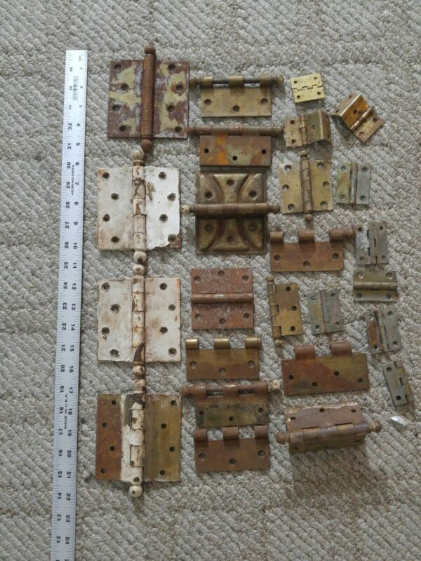 Large Lot Of Vintage/Antique Door Hinges Steel & Others Assorted Sizes