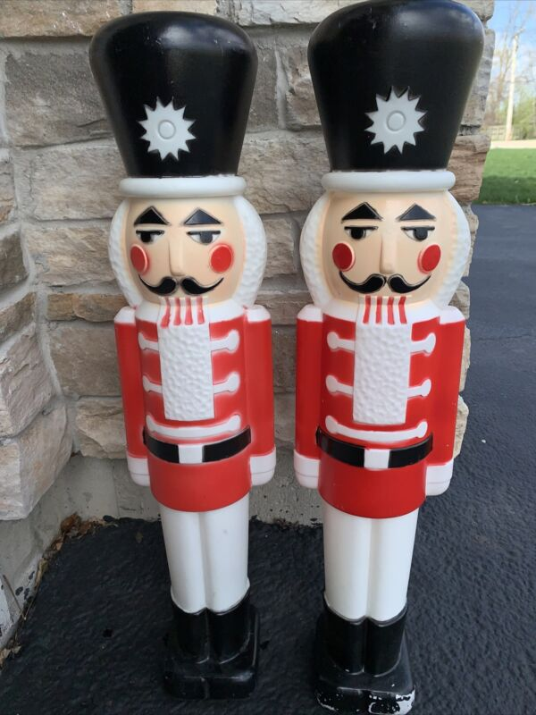 """Set Of 2! Blow Mold Nutcrackers With Black Hats!  Lighter Outdoor Christmas! 30"""""""