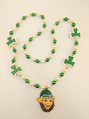 St Patrick's Day Leprechaun Irish Shamrock Mardi Gras Beads Necklace Green White - Leprechaun St Patrick's Day