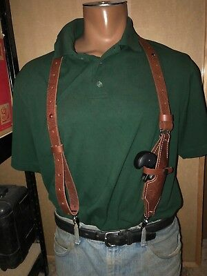 Leather Suspenders w Cobra Arms Cimarron CFA Derringer Holster Metal Pant Clips