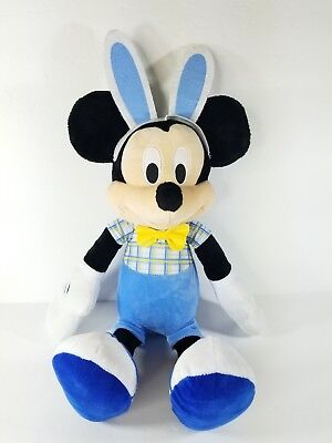 Disney Easter Basket Large Mickey Mouse Plush with Easter Bunny Rabbit Ears 18