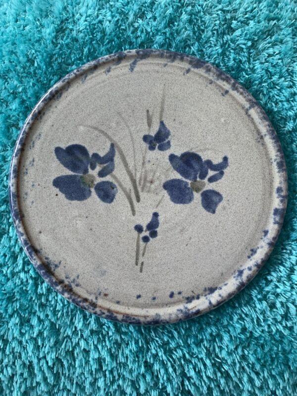 """Owens Pottery """"Original"""" Art Pottery- Primitive Blue Flower Trivet"""