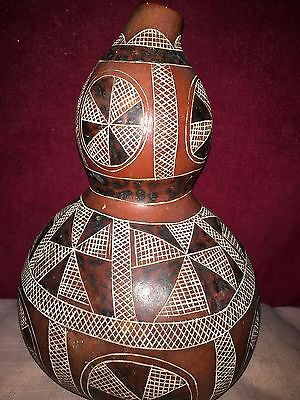Old Papier Maché Double Gourd Vase With Geometric Decoration Chinese,Asian ?