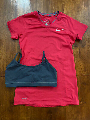 Nike Pro Pink Running/gym Top XS 8 And Grey Sports Bra