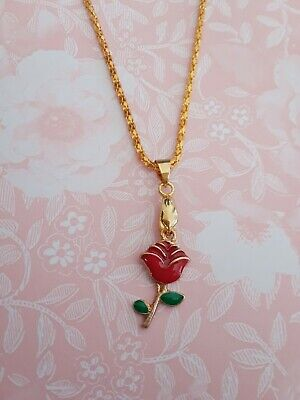Cute red Rose Beauty and the Beast enamel charm golden plated necklace women (Beauty And The Beast Rose Necklace Gold)