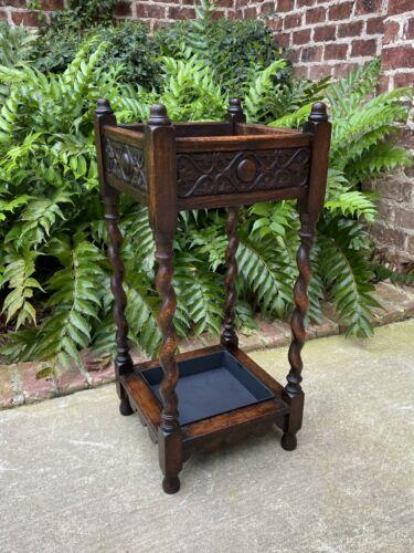Antique English Oak Barley Twist Umbrella Cane Stick Stand Hall Tree Foyer Entry