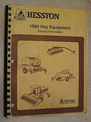 1994 Agco Hesston Hay Equipment Service Bulletin Information Repair Manual