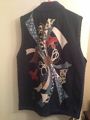 (no Tag) Japanese XL Blue, W/ Graphic, Cotton Blend Fleece Ethnic Outdoor Vest