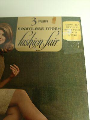 3 Pair Seamless Mesh 100% Nylon Stockings Vintage NIP Size 11 Spice Model=1970's