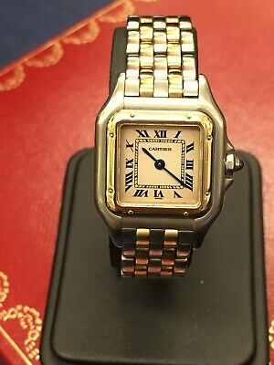 CARTIER PANTHER LADIES STEEL & 18K GOLD QUARTZ WATCH 2 ROW GOLD PANTHERE WATCH