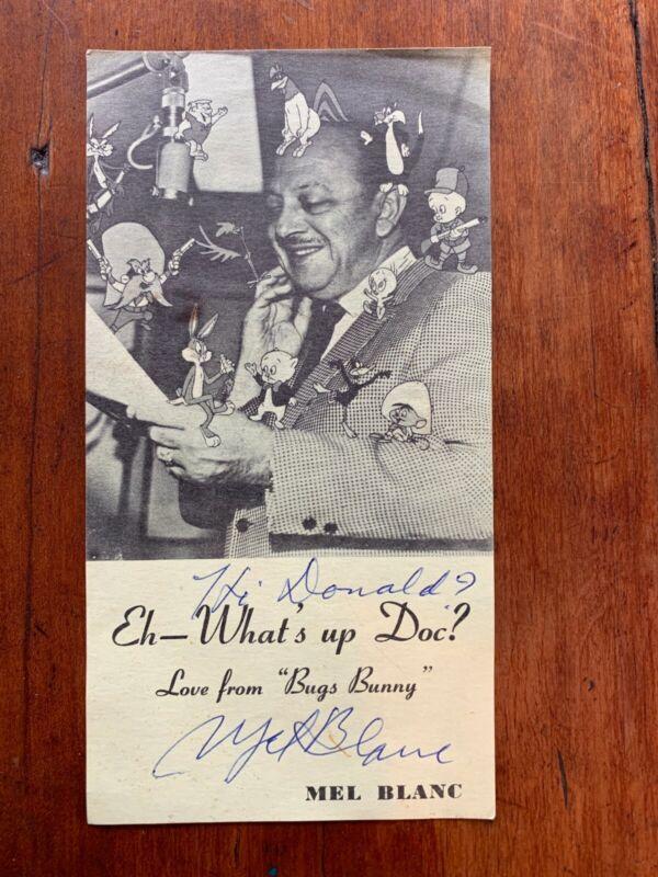 Vintage Mel Blanc Photograph w/ Autograph personalized to DONALD