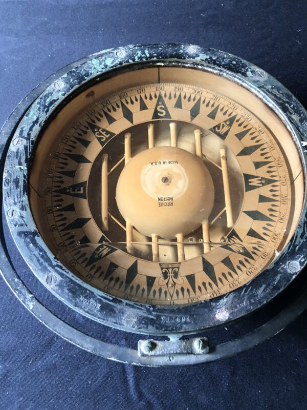 Antique Large Brass Nautical ships Compass Marine Boston Ritchie Sons Boat Decor