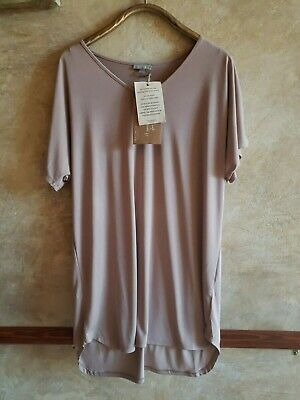 ORGANIC M/L Beige Bamboo blend long top,tunic,nightshirt, NWT, Demdaco,