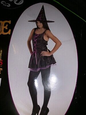 Matalan Halloween Costume (Matalan Party Halloween Purple Lace Witch Costume Dress Hat Small With Bag)