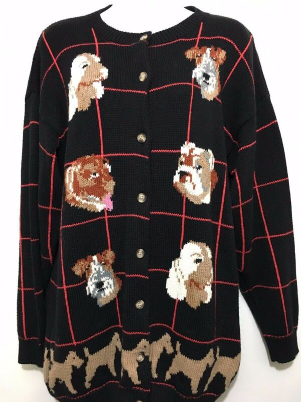 Jayson Younger Womens S Sweater 6 Dogs Black Cotton Spaniel Bulldog Terrier