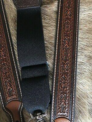 Western Leather Suspenders/Galluses Tooled Nocona -