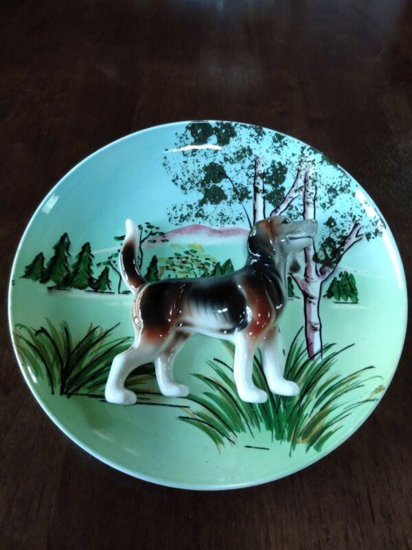 "Vintage Beagle Dog Raised 3D Ceramic Collectors Plate 8"""